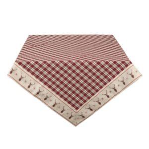 acheter nappe tartan rouge style chalet cert 150x150 cm