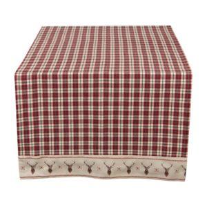 chemin de table tartan liseré cerf beige style chalet rustique