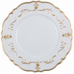 assiette de présentation blanc et doré blanc mariclo fait en Italie