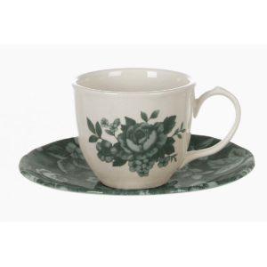 tasse à café de noël verte en céramique blanc mariclo