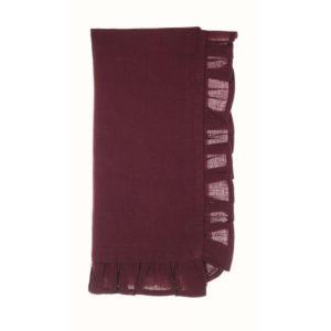 acheter serviette bordeaux en coton et lin volant blanc mariclo