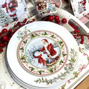 service de table de noël blanc vert et rouge porcelaine